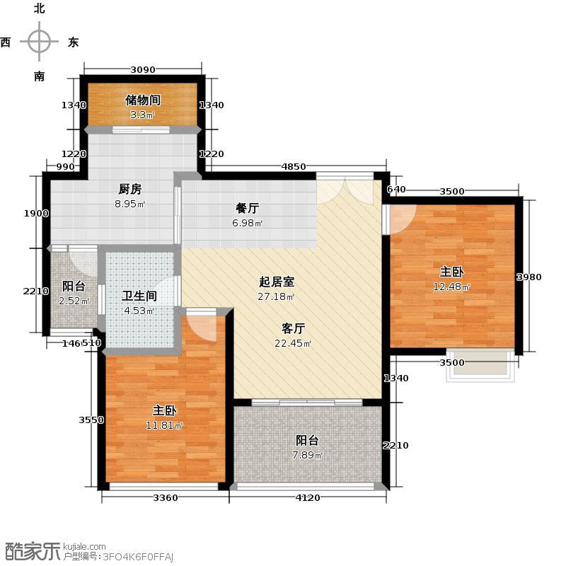嘉汇城89.00㎡10栋标准层02户型2室1卫1厨