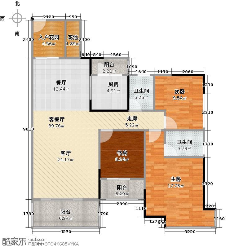 汇东国际花园120.13㎡A区5栋2-28F01单位户型3室1厅2卫1厨