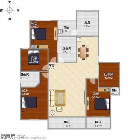 奥林清华世纪公园4室1厅2卫1厨211.00㎡户型图