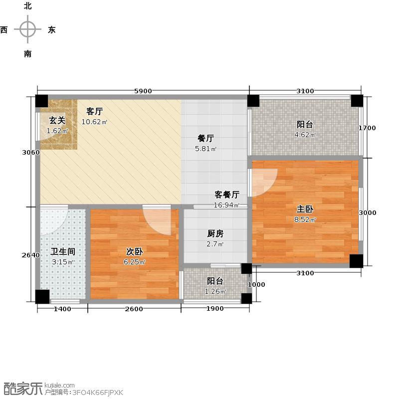金寓55.00㎡B户型2室1厅1卫1厨