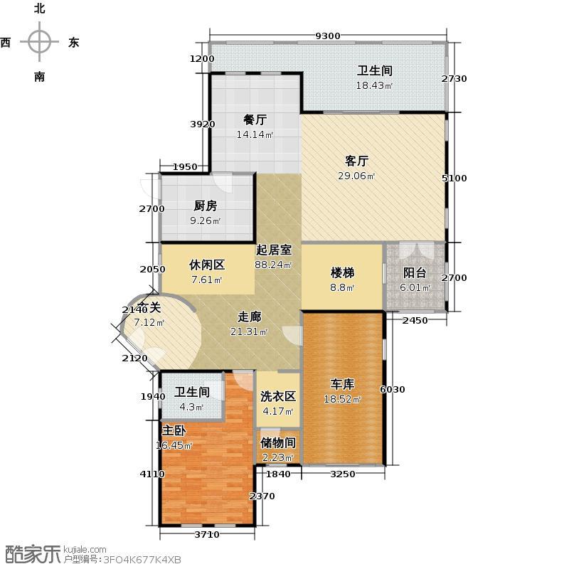 蓝光观岭173.36㎡B2型一层平面图户型1室2卫1厨