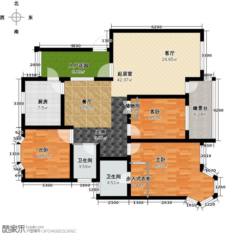 润扬双河鹭岛121.00㎡花园洋房26-B-C1型户型3室2卫1厨