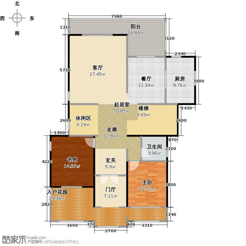 蓝光观岭157.79㎡A3X型一层平面图户型2室1卫1厨
