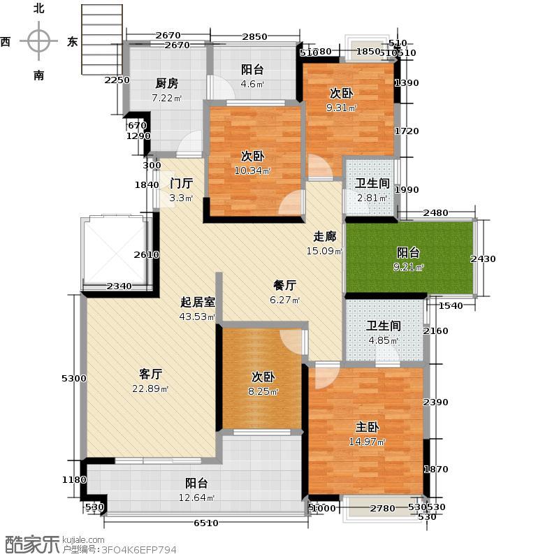 一品湖山146.38㎡B10栋标准层01单位户型4室2卫1厨