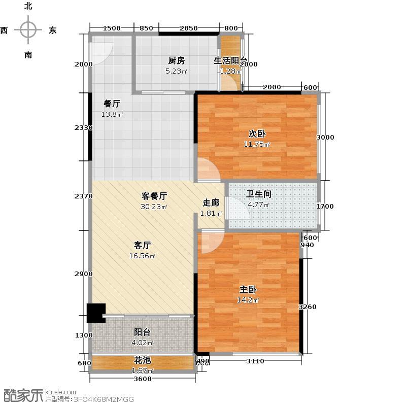 汇东国际花园86.61㎡C4栋01单元户型2室1厅1卫1厨