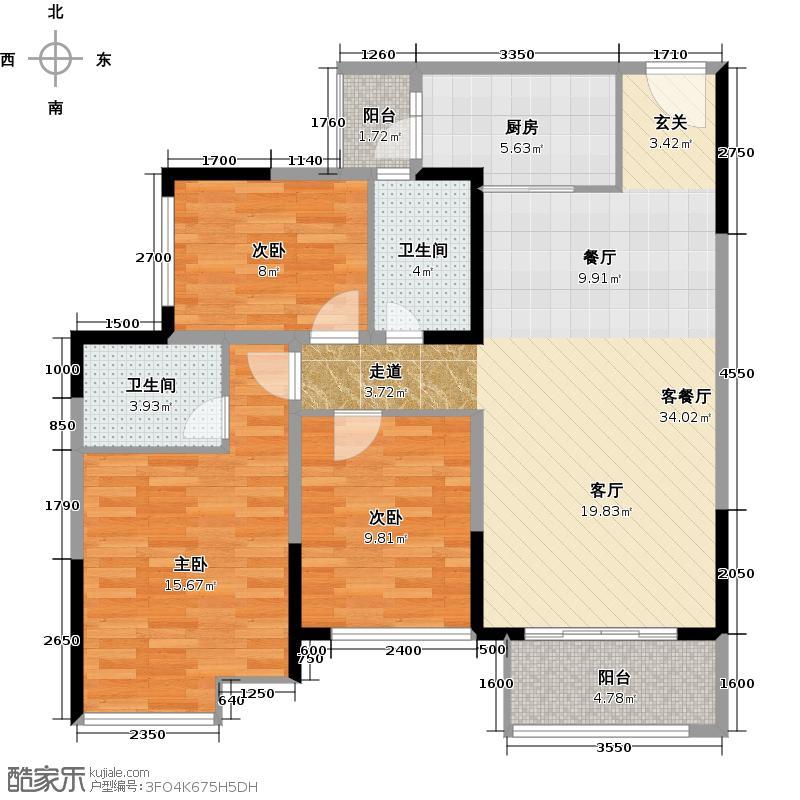 金科天籁城108.01㎡城市公寓B1舒居之家户型3室1厅2卫1厨