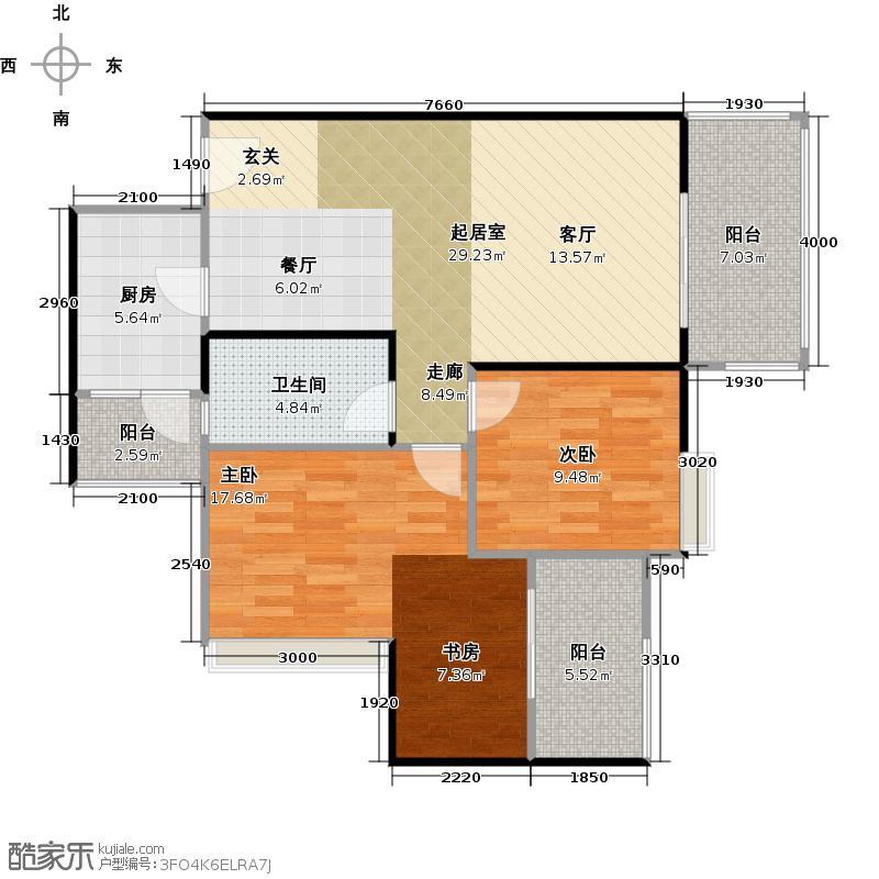 金海岸星月湾93.04㎡G型花园三居(可变)户型2室1卫1厨