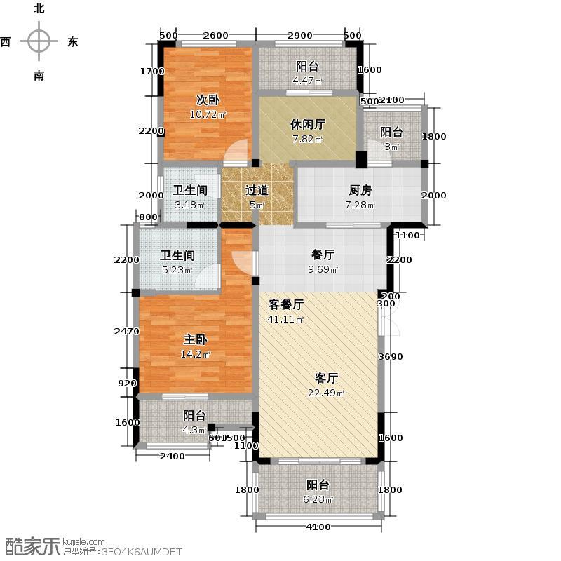 金科天籁城111.78㎡市区洋房C3宽景之家赠送户型2室1厅2卫1厨
