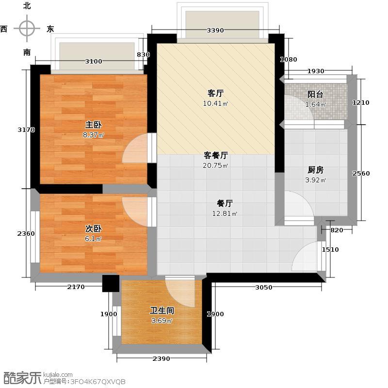 长虹和悦府61.00㎡A户型2室1厅1卫1厨