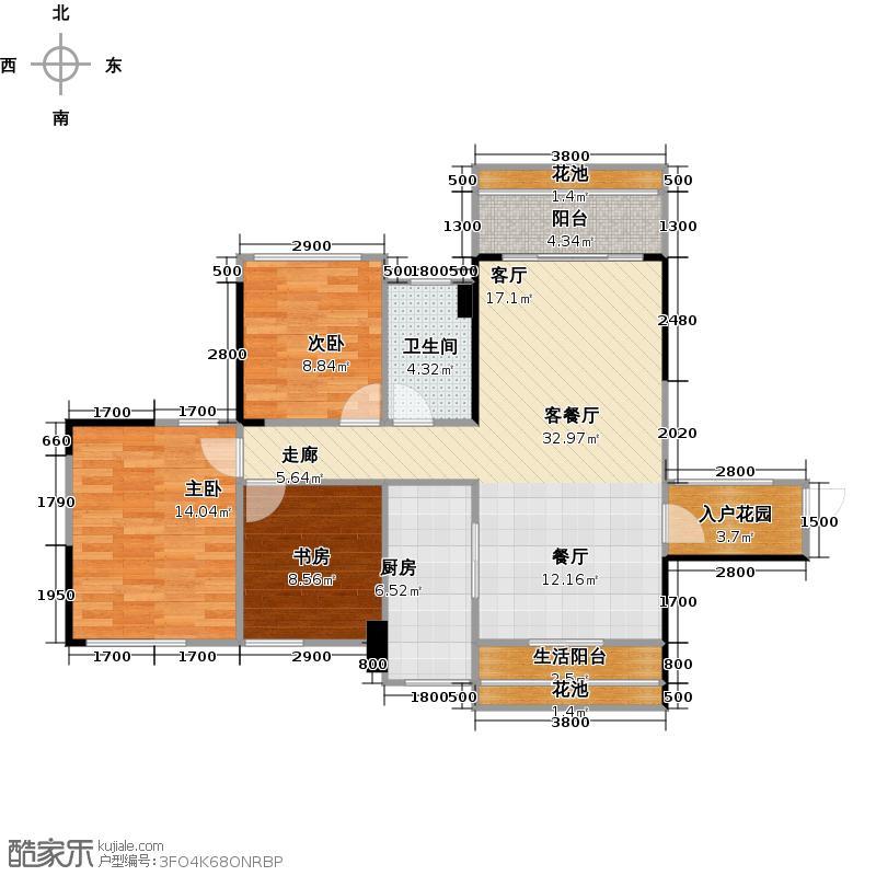 汇东国际花园98.49㎡C5栋03单元户型3室1厅1卫1厨