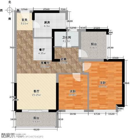 坪山招商花园城2室1厅0卫1厨90.00㎡户型图