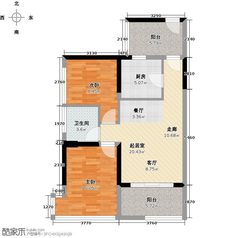 潜龙曼海宁70.78㎡(南区)4栋4-C2阳台6748-户型2室1卫1厨
