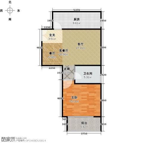 建邦枫景1室1厅1卫1厨67.00㎡户型图