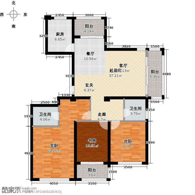 滨江金色黎明137.00㎡K27、9、13号楼1单元01室、8号楼3单元02室-偶数层户型3室2厅2卫