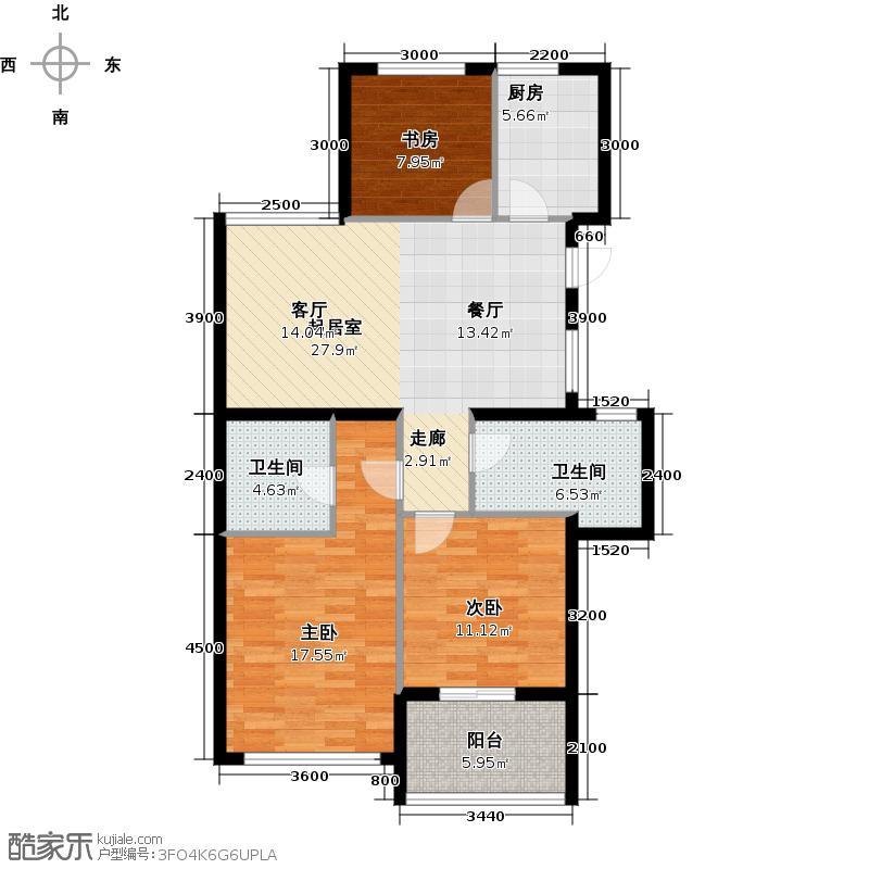 滨江金色黎明110.00㎡G3号楼1单元04室、2单元01室户型3室2厅2卫