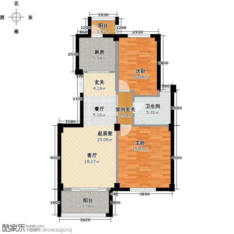 富汇豪庭90.00㎡小高层资优90奇数层户型2室2厅1卫
