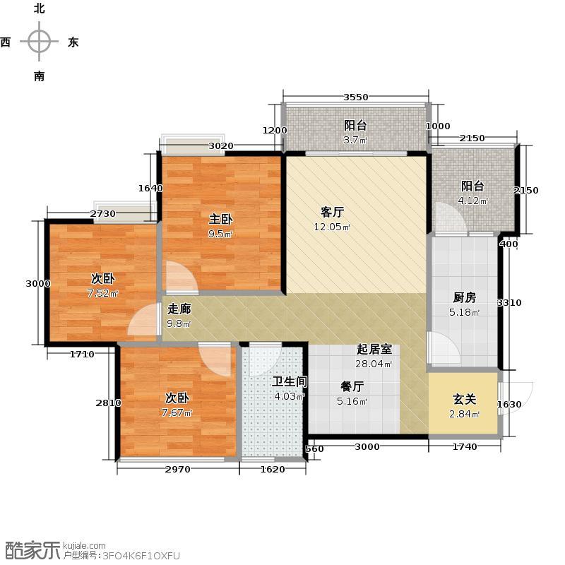 蓝润锦江春天85.80㎡6号楼B4型户型3室1卫1厨