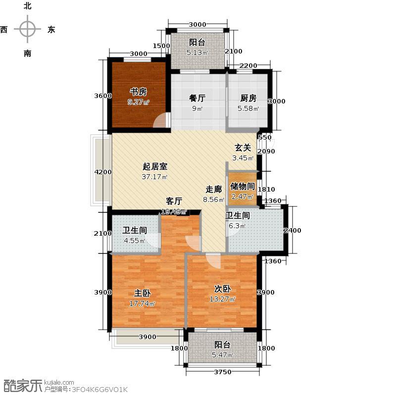 滨江金色黎明131.00㎡J16、10、14号楼0-奇数层户型4室2厅2卫