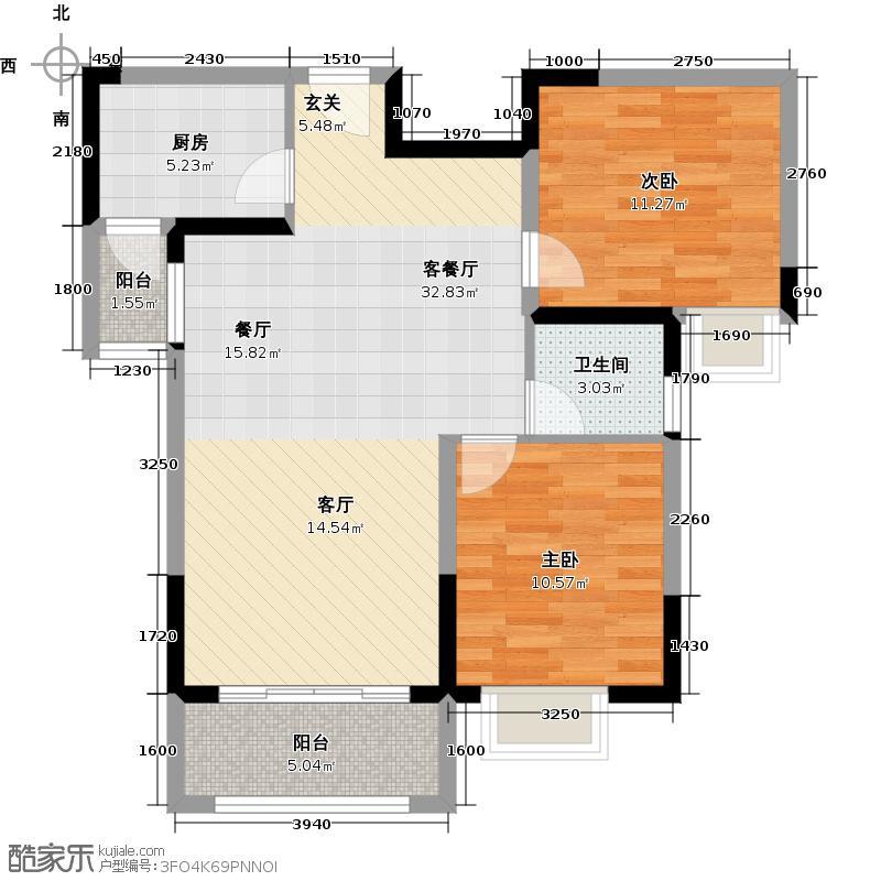 阳城心灵家园92.00㎡F-2户型2室1厅1卫1厨