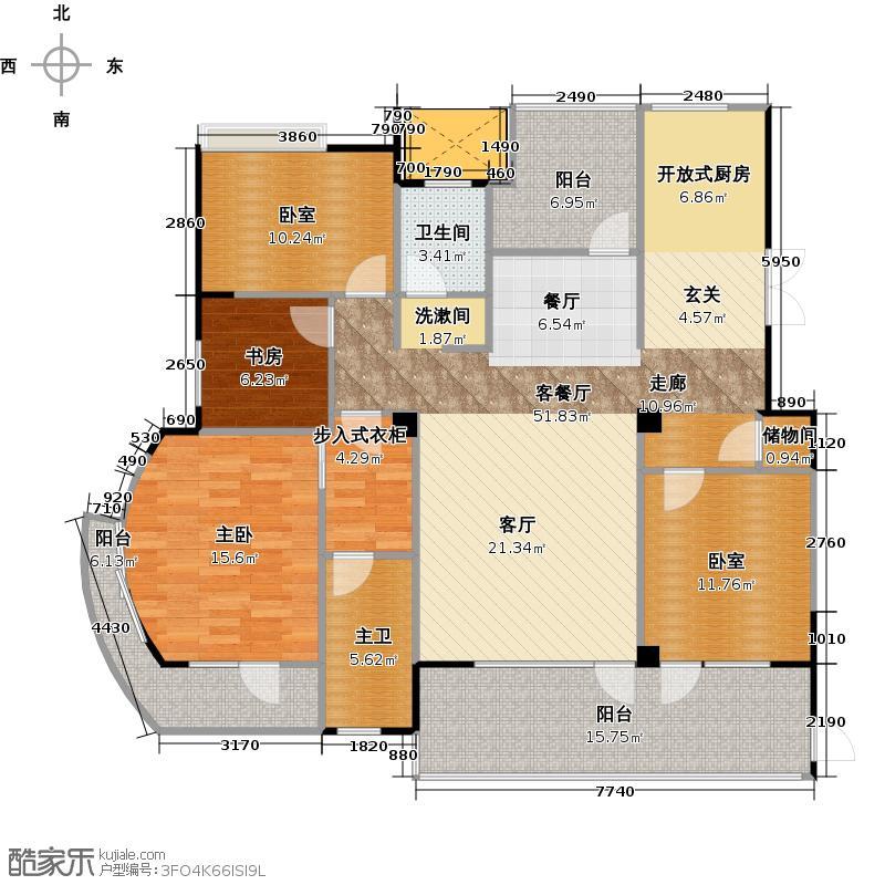海华东盟公馆167.00㎡F1户型2室1厅1卫