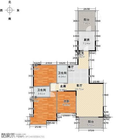 富力唐宁花园3室1厅2卫1厨137.00㎡户型图