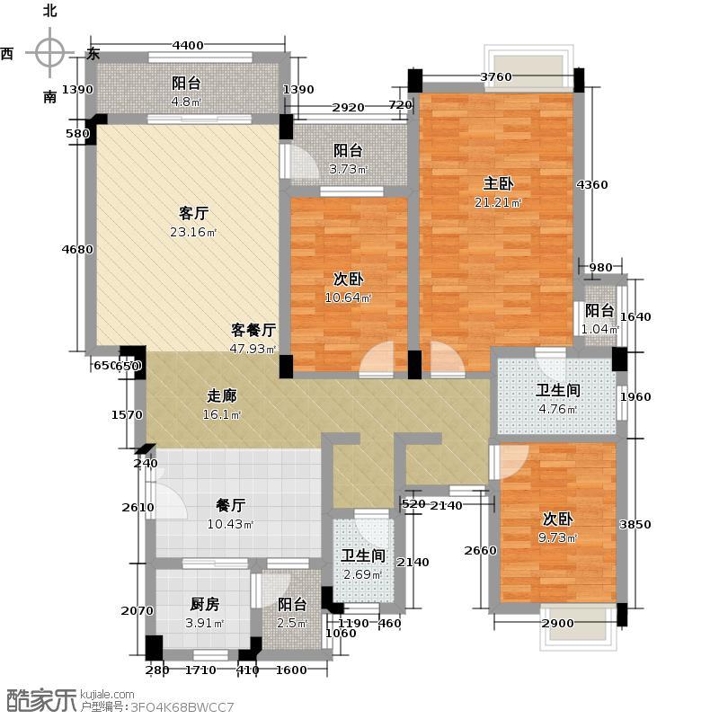 怡湖玫瑰苑141.04㎡9栋2单元2号234层户型3室1厅2卫1厨