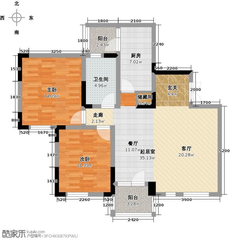 交大归谷国际住区100.00㎡交大・归谷国际住区电梯D2型户型2室1卫1厨