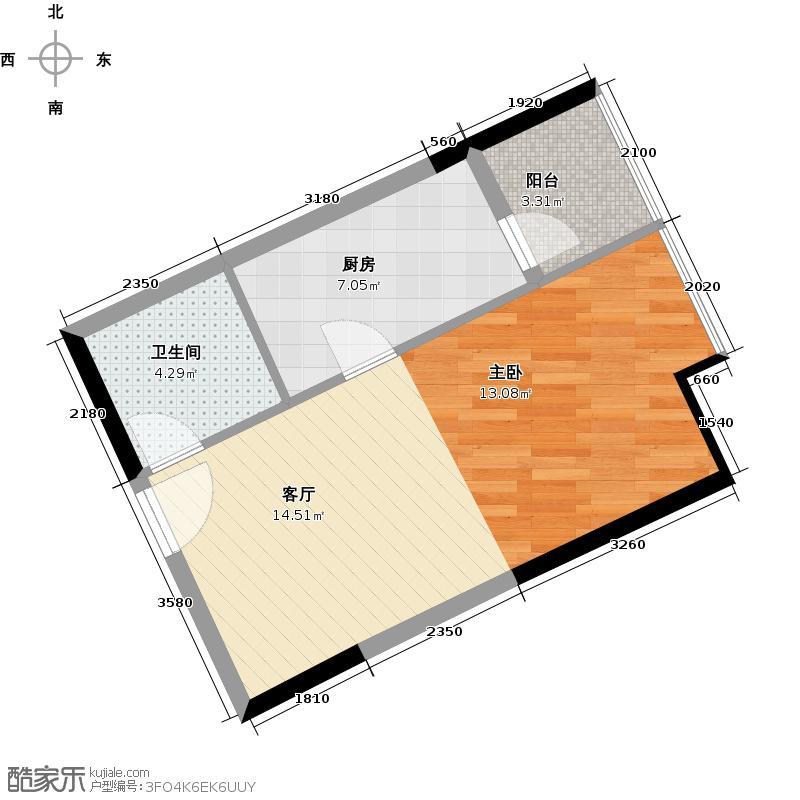 荔港南湾46.66㎡H4栋7-14层0户型1卫1厨