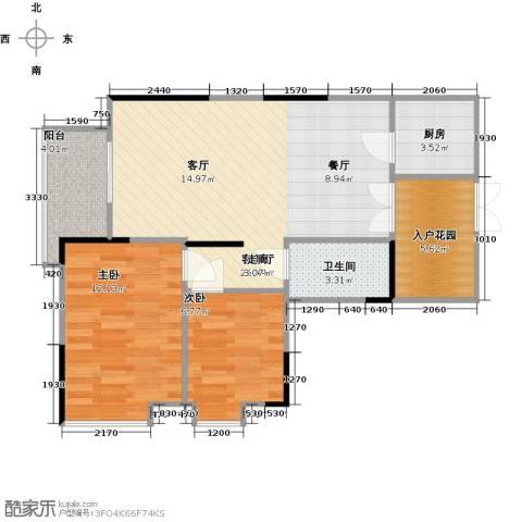 宏新华庭2室1厅1卫1厨80.00㎡户型图