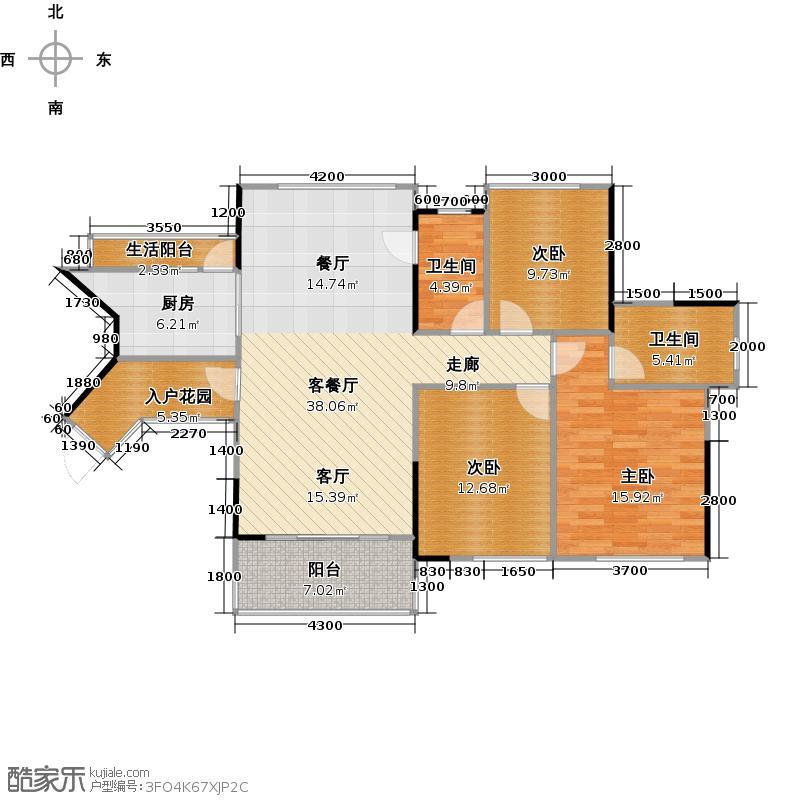 汇东国际花园120.42㎡C4栋04单元户型3室1厅2卫1厨