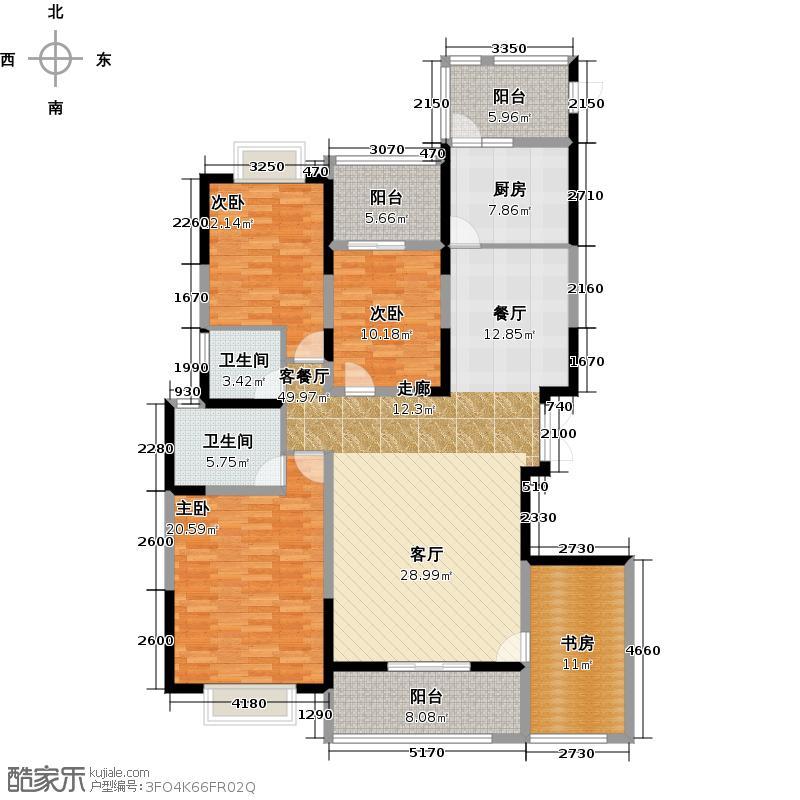 塔子山壹号158.70㎡C1户型4室1厅2卫1厨