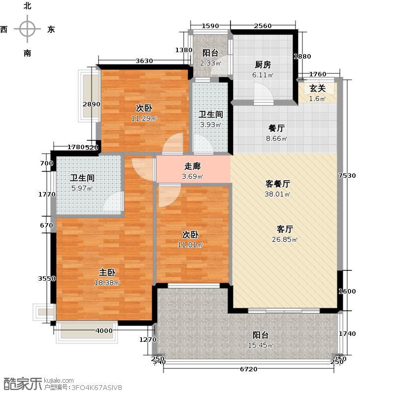 翡翠绿洲136.00㎡41栋03/0442栋03/04户型3室1厅2卫1厨