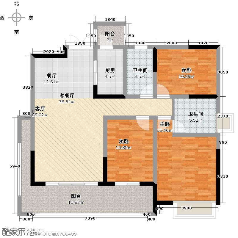 保利贝森公馆137.98㎡一期6-B户型3室1厅2卫1厨
