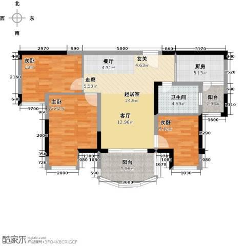 碧桂园凤凰城3室0厅1卫1厨92.00㎡户型图