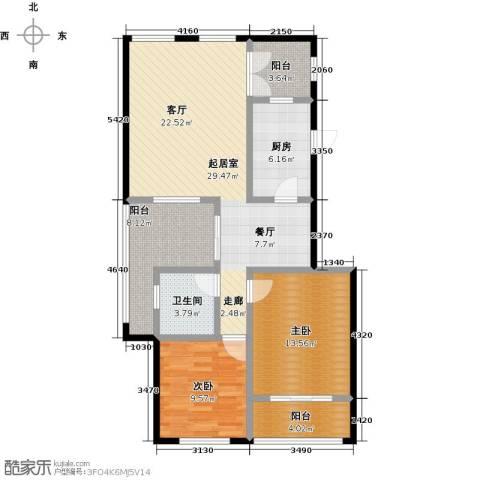 葵花社2室0厅1卫1厨90.00㎡户型图