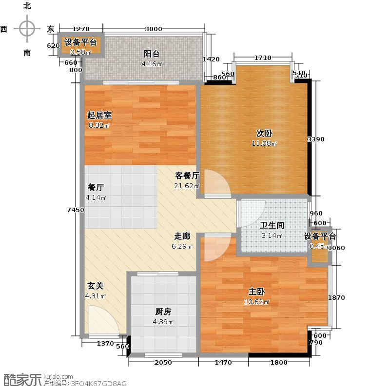 水韵翔庭72.18㎡B栋05户型2室1厅1卫1厨