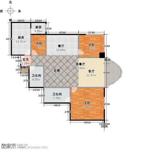 鹏润家园3室1厅2卫2厨159.00㎡户型图
