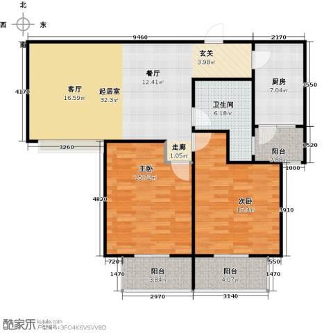 新世纪绿树湾2室0厅1卫1厨95.00㎡户型图