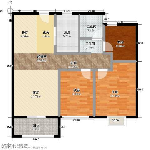 苏宁雅居3室0厅1卫1厨90.00㎡户型图