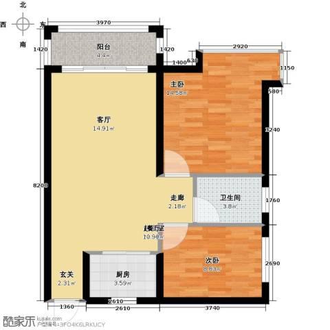 景新国际名城2室0厅1卫1厨71.00㎡户型图