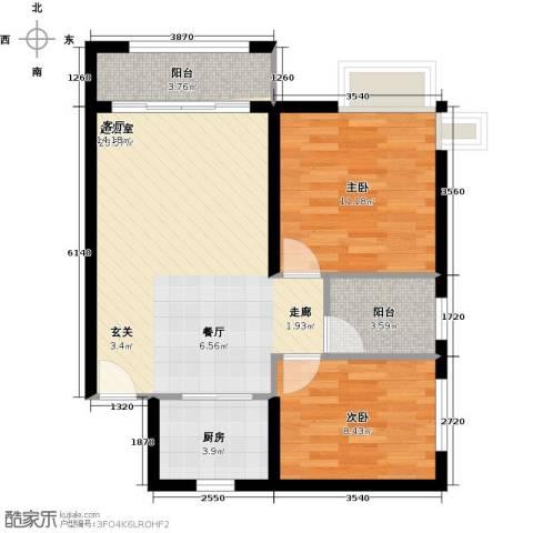 景新国际名城2室0厅0卫1厨73.00㎡户型图