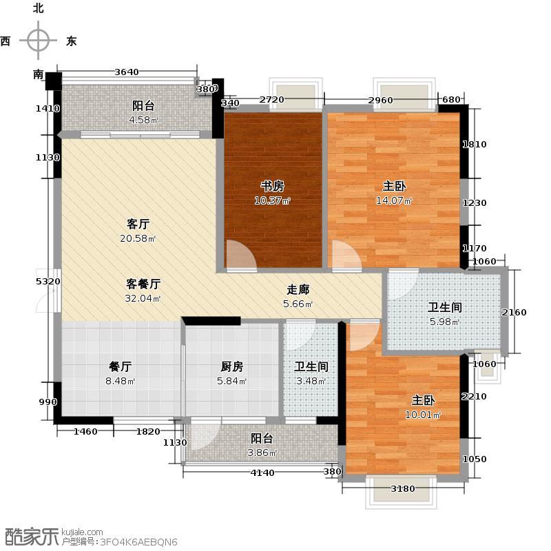 翡翠绿洲120.00㎡57-62栋01/02户型3室1厅2卫1厨