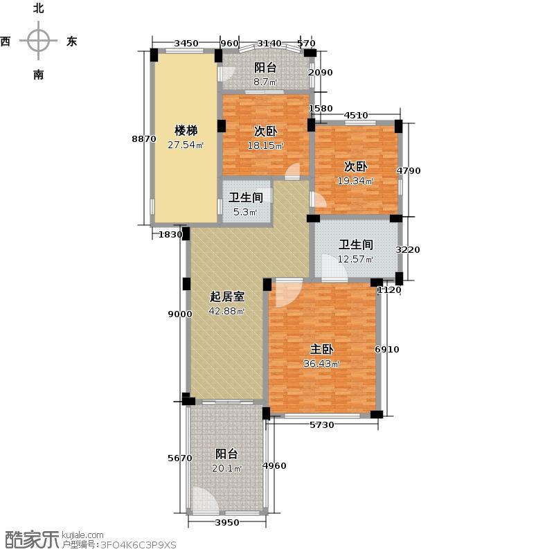 东海闲湖城212.00㎡山地叠排二层户型10室
