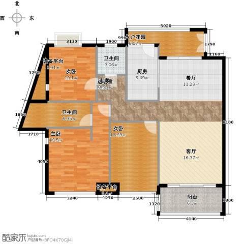 富盈东方华府三期紫峰3室0厅2卫1厨141.00㎡户型图