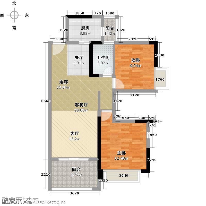 怡湖玫瑰苑100.16㎡2栋2号3-19层户型2室1厅1卫1厨