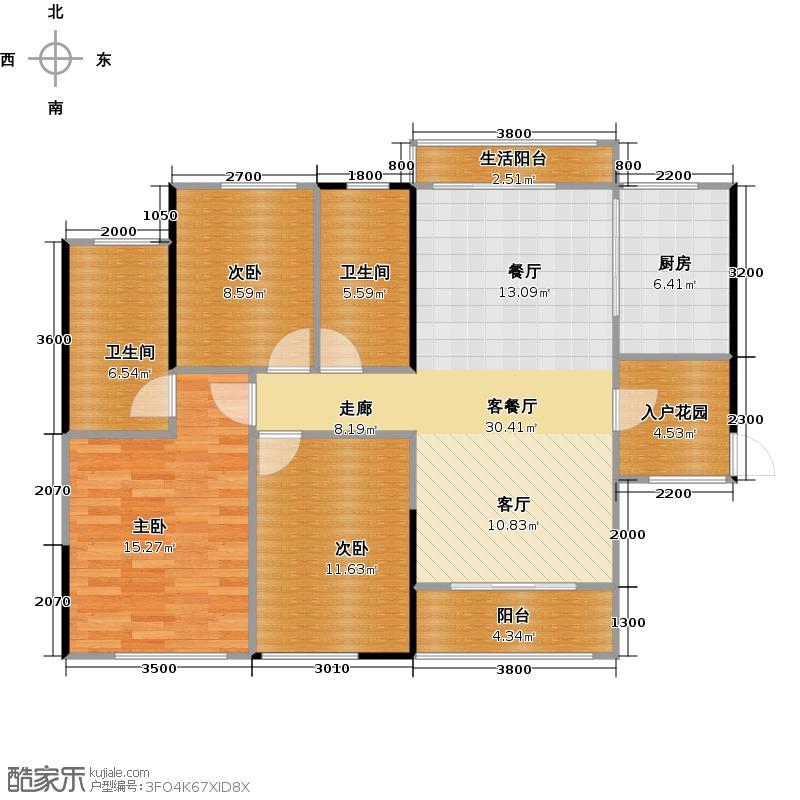 汇东国际花园103.70㎡C区2栋03户型3室1厅2卫1厨