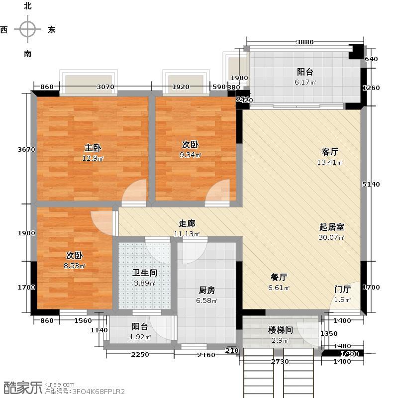逸涛湾95.51㎡逸涛雅苑四期2-10层小01单位户型3室1卫1厨