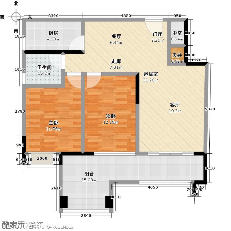 一品湖山91.48㎡B14、B15、B17栋标准层02单位户型2室1卫1厨