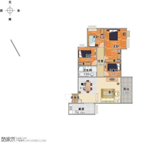香格里拉西苑4室1厅1卫1厨122.00㎡户型图