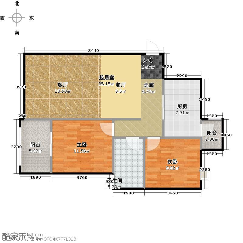 海高伦美林国际社区87.57㎡户型2室1卫1厨